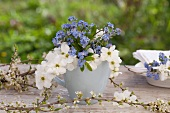 A small bunch of forget-me-not and garden jasmine