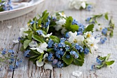 A wreath of forget-me-not and garden jasmine