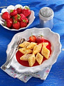Fried semolina slices with strawberry sauce