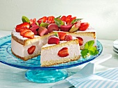 Rhubarb and strawberry cream cake