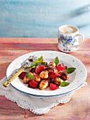 Rhubarb and poppyseed gnocchi