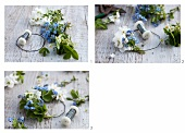 A wreath of forget-me-not and garden jasmine being tied