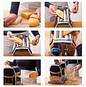 Pasta dough being rolled out and cut using a pasta machine