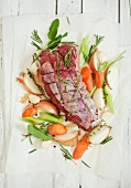 Beef shoulder fillet with vegetables and herbs (ready-to-roast)