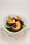 Tagliolini neri ai gamberi (squid tagliolini with shrimps)