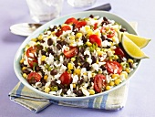 Southwestern Rice Salad with Black Beans, Corn and Tomatoes