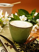 Clove and Cinnamon Tea with Vanilla Creme in a Green Cup