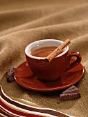 Mexican Hot Chocolate with a Cinnamon Stick