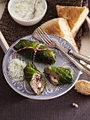Cabbage roulade with tzatziki and unleavened bread
