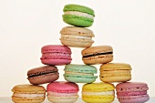 A pyramid of different coloured macaroons
