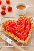 A heart-shaped strawberry tart