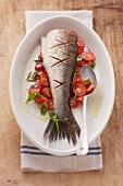 Fried zander on a bed of tomatoes