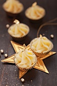 Christmas confectionery decorated with gold leaf