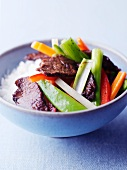 Lamb with vegetables and rice