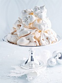 Meringues in a silver bowl for Christmas