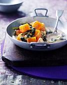 Pumpkin ragout with spinach