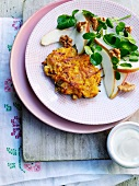 Vegetable cakes with a pear salad