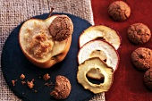 Stuffed baked apples with amaretti and marzipan