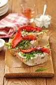 Ciabatta topped with goat's cheese and grilled peppers