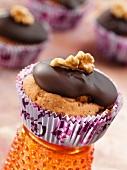 Chocolate sea buckthorn muffins with walnuts