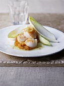 Fried scallops with chicory
