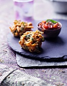 Spicy vegetable muffins and chutney