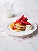 Pancakes with rhubarb compote and yogurt