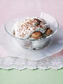 Tiramisu in a glass dish