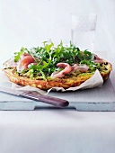 Savoy cabbage fritatta with ham and rocket