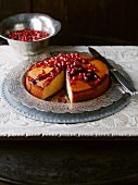 Pomegranate cake, sliced