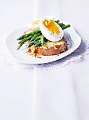 Cheese on toast topped with lemon zest, asparagus and egg