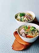 Beef soup with pasta and vegetables