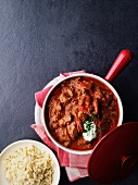 Beef goulash with bulgur wheat