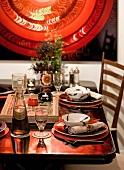 Festlich gedeckter Tisch in marokkanischem Stil