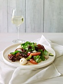 Duck breast salad with pink grapefruit and lychees