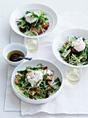 Salade Lyonnaise (salad with poached egg, bacon and croutons)