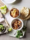 Soft shell tacos, prawns, avocado and cabbage salad