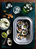 Grilled oysters with creme fraiche and lemon grass