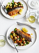 Spicy mackerel with fried potatoes, courgette and mint