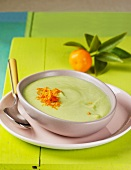 Cream of vegetable soup with mandarin zest