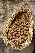 Walnuts in a rustic basket
