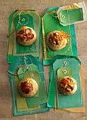 Nutmeg nougat biscuits decorated with caramel