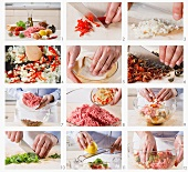 Mediterranean ingredients being added to a minced meat mixture