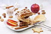 Waffles with apples and cinnamon