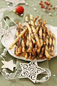 Homemade grissini with poppy seeds for Christmas