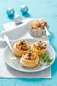 Vol-au-vents with herring salad for Christmas
