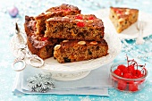 Fruit cake with almonds for Christmas