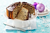 Poppy seed cake with chocolate icing for Christmas