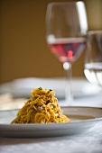 Tajarin al ragù (egg noodles with ragout, Italy)