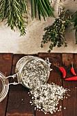 Herb salt in a jar
